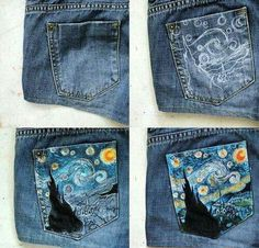 Clothes Closet Diy Outfit New Ideas Painted Jeans, Painted Clothes, Painted Shorts, Diy Clothes Paint, Diy Clothing, Custom Clothes, Denim Kunst, Denim Art, Diy Kleidung