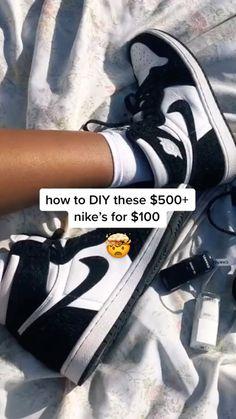 Cute Nike Shoes, Nike Air Shoes, Jordan Shoes Girls, Girls Shoes, Souliers Nike, Jugend Mode Outfits, Diy Fashion Hacks, Swag Shoes, Aesthetic Shoes