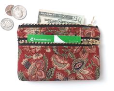 Floral Wallet Coin Purse Double Zipper Pouch Maroon by Lindock on Etsy https://www.etsy.com/listing/243273963/floral-wallet-coin-purse-double-zipper