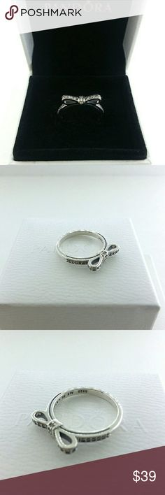 Pandora Silver Delicate Bow Ring # 5, 6, 7, 8.5 Pandora Sterling Silver Delicate Bow Ring # 190906CZ - 5 , 6 , 7,8.5    Sterling silver  New and never used  % 100 authentic  S925/ale hallmark stamps on it  Official Pandora black velvet box with purchase  If you interested in another item on my list please ask me, I do combine     Enjoy shopping Jewelry Rings