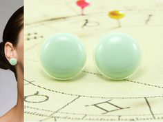 Mint Green Stud Earring 20 mm - Bright Pastel Round Stud Earrings - Surgical Stainless Steel Posts - Bridesmaids Gift - Earrings for Women
