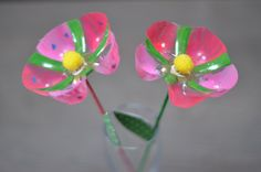 Recycled flowers. Gloucestershire Resource Centre http://www.grcltd.org/home-resource-centre/