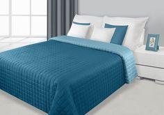 Dwustronne narzuty i kapy na łóżko koloru turkusowo niebieskiego