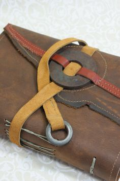 Leather strap closure ends with metal washer