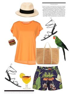 """""""Tiki'"""" by dianefantasy ❤ liked on Polyvore featuring Penfield, Schumacher, ViX, Eugenia Kim, tropical, inspiration and polyvoreeditorial"""