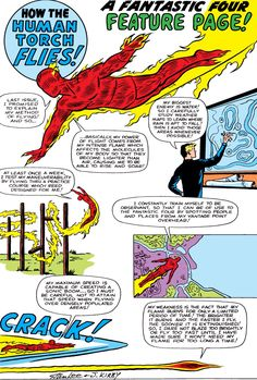"""How Human Torch (Johnny Storm) Flies """"by Jack Kirby & Stan Lee """" Comic Book Artists, Comic Book Characters, Comic Books, Marvel Comic Universe, Marvel Art, Marvel Masterworks, Jack Kirby Art, Silver Age Comics, Human Torch"""