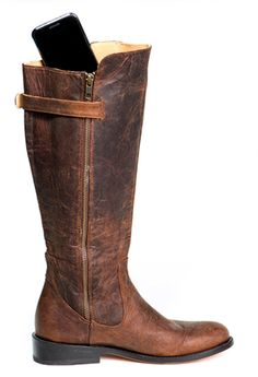 Luxurious leather riding boot with pockets for your cell phone, credit cards and passport. Perfect for dancing, travel, motorcycling and horseback riding! Available in wide calf. Click to view - www.elizabethanneshoes.com $289