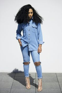 Denim and Denim Asos denim shirt , Asos ridley jeans, Nasty gal shoes On a Chic Diet