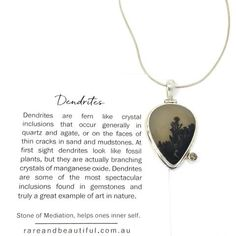 Lovely drop pendant with very interesting pattern caused by the Manganese inclusions within the agate.... Dendritic Agate, Jewelry Showcases, Raw Gemstones, Black Spinel, Contemporary Jewellery, Fossil, Dog Tag Necklace, Quartz, Drop