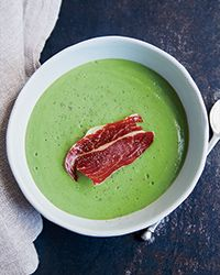 Chilled English Pea Soup with Prosciutto Crisps Recipe on Food  Wine - could not be easier but, frankly, the prosciutto crisps were not nearly as delicious as actual prosciutto would have been. Pea soup was fresh, simple, and delicious.