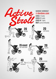 active stroll darbee workout fitness with baby stroller workout postpartum weightloss body after baby fitness tips After Baby Workout, Post Baby Workout, Post Pregnancy Workout, Mommy Workout, After Pregnancy, Fit Pregnancy, Darbee Workout, Workout For Moms, Workout Sheets