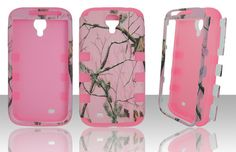 Pink Tree Camo Hard Case w Pink Silicon Skin Cover- Samsung Galaxy S4 IV i9500
