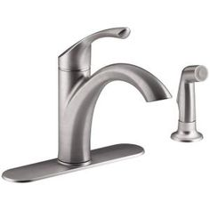 KOHLER Mistos Single-Handle Standard Kitchen Faucet with Side Sprayer in Stainless Steel K-R72508-VS at The Home Depot - Mobile
