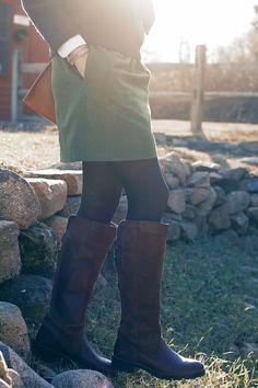 Wool skirt, leggings, boots