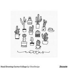 Collage de cactus de dessin de main toile tendue sur châssis