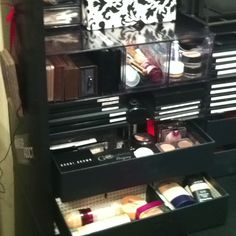 My cheap version of the Kardashian Acrylic Makeup Organizer - Part 1   Bought 2 Rubbermaid Optimizers from Walmart for $31.47  & 4 document boxes also from Walmart for $7.00 each. Now I have an 8 drawer makeup organizer for under $100.00!     http://www.walmart.com/ip/Rubbermaid-Optimizers-4-Way-Organizer-w-Drawers-Plastic-Clear/14915384