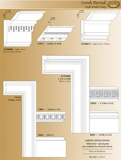 Greek Revival Moulding- in case we need replacements Greek Revival Architecture, Beautiful Architecture, Architecture Details, Moldings And Trim, Moulding, Window Parts, Greek Revival Home, Neoclassical Interior, Basement Windows
