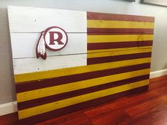 Washington Redskins wood flag with vintage logo