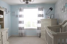 These nursery curtains are actually painted! Can't find what you need or out of your budget? Just DIY it! #DIY #nursery