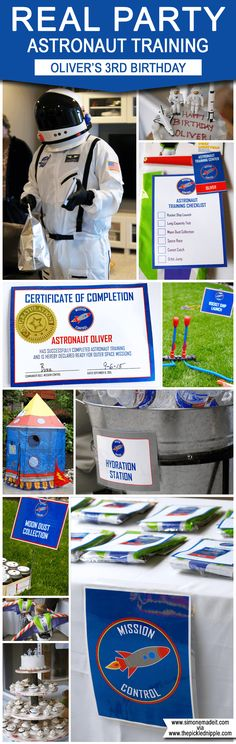 Find Astronaut Training Birthday Party Ideas and inspiration here in Oliver's Space birthday party! Astronaut Party, Alien Party, Nasa Party, Birthday Party Themes, 3rd Birthday, Birthday Ideas, Birthday Design, Birthday Nails, Outer Space Party