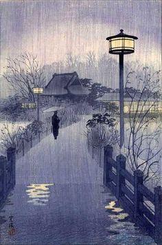Shiro Kasamatsu, Rainy Night at Shinobazu Pond, c.1938
