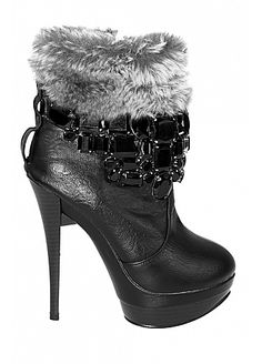 Custom-made Soft Leather  & Man-made Short-pile Velour Black Stiletto Heel Shoe Boots With Gems