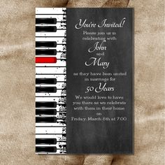 Printable 30th 40th 50th 60th Wedding Anniversary or Birthday Party Love Music Piano Keys Invitation DIY Digital File Only