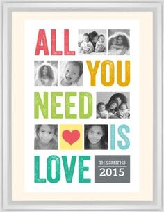 All You Need Is Love Framed Print, White, Classic, White, Cream, Single piece, 24 x 36 inches