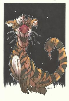 Zombie Tigger -the only trigger tat I will get Disney Horror, Horror Cartoon, Zombie Cartoon, Evil Disney, Zombie Disney, Cartoon Pics, Cartoon Art, Walt Disney, Zombie Drawings