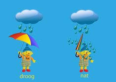 Rekenprikkels - Tegenstellingen - droog, nat - New Ideas Dutch Language, Blond Amsterdam, Cool Kids, Classroom, Activities, Education, Learning, Fun, Illustration