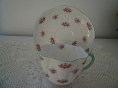 SHELLEY Teacup and Saucer. Cottage Chic. by TheBrambleyCottage