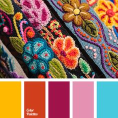 Big quantity of bright and contrasting colors and is typical for the decoration of national dress of different countries. Each color has its symbolic meani