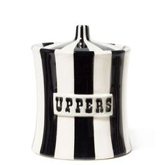 Jonathan Adler Uppers canister $98.00  ...for all our over-the-counter meds that clutter the kitchen cabinet.