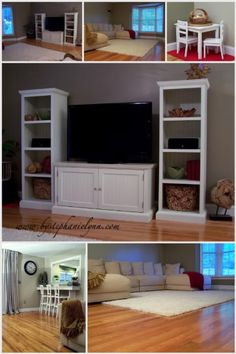 "create a large entertainment center with ""pieces"" and then creating the look of a cohesive unit with molding connecting the bookends, top shelf, TV cabinet."