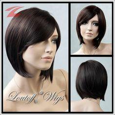 Perücke kurz Wig braun glatt verführerisch