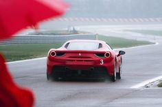 Ferrari 458 on rainy track