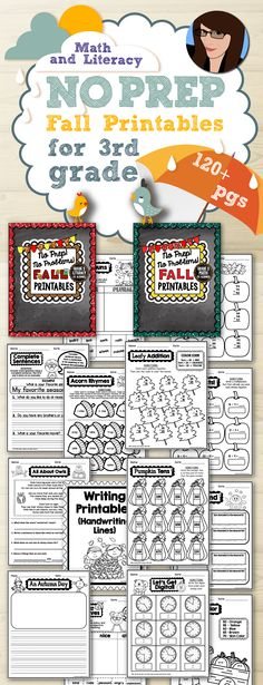 The beginning of the school year is a busy time in 3rd grade! This NO PREP Fall Printable Pack is filled with math and literacy activities for the back to school season! There are 51 math printables, 54 language arts (literacy) printables, and 10 writing printables.