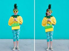 This adorable no-sew pineapple costume is quick and easy to make. Whip it up in under an hour and your little ones are ready to Diy Fruit Costume, Fruit Costumes, Pineapple Costume, Diy Wedding Projects, Classroom Inspiration, Diy Food, Diy For Kids, Party Planning, Harajuku