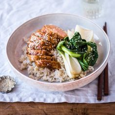 Sticky, delicious, succulent and quick to make - here's my recipe for sticky hoisin ginger pork with rice and Asian greens - YUM! Asian Noodle Recipes, Asian Recipes, Ethnic Recipes, Pork Recipes, Cooking Recipes, Healthy Recipes, Healthy Food, Savoury Recipes, Chinese Cooking Wine