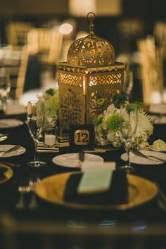Green, white and gold centerpiece