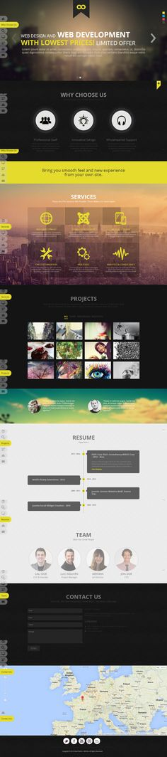 one page, flat, clean, #concept, yellow