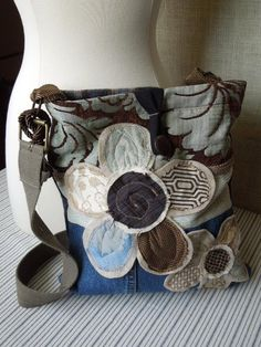 Shabby Chic CROSSBODY Bag, Upcycled HIP Bag, SLING Bag, Boho Slouch Purse, Denim Plaid Earth Tones, Floral Applique Hobo Bag