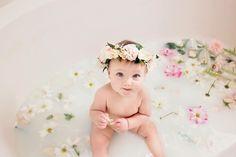 Baby girl milk bath photos