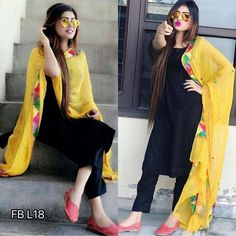New cotton black color straight suit with yellow dupatta. Black Punjabi Suit, Black Pakistani Dress, Punjabi Suit Simple, Designer Punjabi Suits, Indian Designer Wear, Dress Indian Style, Indian Wear, Indian Dresses, Patiala Dress