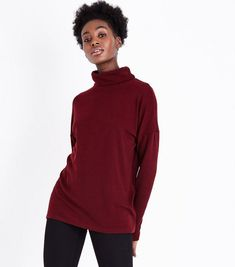 Burgundy Roll Neck Brushed Tunic Top | New Look
