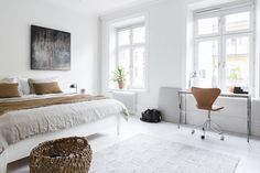 Warm brown tones in a white Swedish home