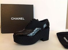 CHANEL15K CC Quilted Black Patent Leather Satin Platform Booties Shoes 38.5 NIB!