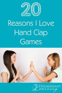 Do you have memories of playing hand clapping games as a child? Now it's my privilege to introduce them to my children. There are a lot of great reasons to teach hand clapping games to your children. Here are 20 of the reasons I love teaching them t Preschool Learning Activities, Music Activities, Preschool Music, Motor Activities, Learning Games, Music Games, Teaching Ideas, Hand Clapping Games, Icebreakers For Kids