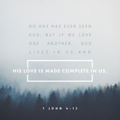 """""""Dear friends, if God so loved us, then we also ought to love one another. No one has seen God at any time. If we love one another, God resides in us, and his love is perfected in us."""" 1 John 4:11-12 NET http://bible.com/107/1jn.4.11-12.net"""