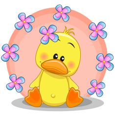 Illustration about Greeting card Duck with flowers. Illustration of animals, love, girl - 52352587 Blue Nose Friends, Cute Friends, Duck Pictures, Cute Clipart, Pet Rocks, Tatty Teddy, Smileys, Rock Crafts, Cute Illustration